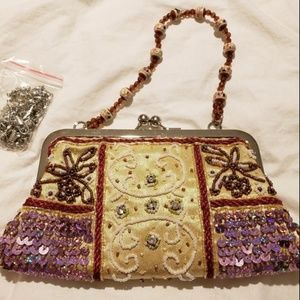Vintage Ornately Sequin Beaded Small Purse Handbag